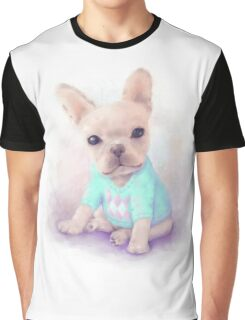 French Bull dog puppy sits on a white, watercolor painting Graphic T-Shirt