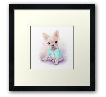 French Bull dog puppy sits on a white, watercolor painting Framed Print