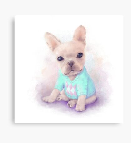 French Bull dog puppy sits on a white, watercolor painting Canvas Print