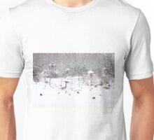 New Year's Dinner, winter bird scene in Scotland Unisex T-Shirt