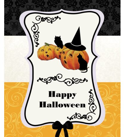Vintage Jack O' Lanterns on Tripartite Background - Happy Halloween Card Sticker