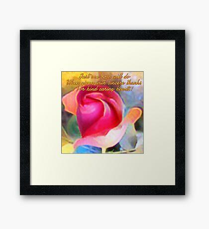 One Rose (Art & Haiku) Framed Print