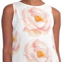 Wild Peach Pink Rose Watercolor Contrast Tank