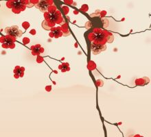 Whimsical Red Cherry Blossom Tree Sticker
