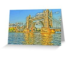 Tower Bridge In Yellow Greeting Card