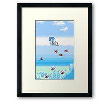 Pokemon Gold And Silver Scenic Ocean Framed Print