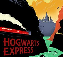 Hogwarts Express Retro Travel Poster by BigBadRobot