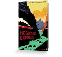 Hogwarts Express Retro Travel Poster Greeting Card