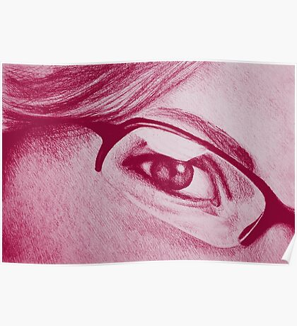 Drawing of girl with glasses, detail. Poster