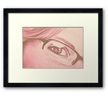 Drawing of girl with glasses, detail. Framed Print