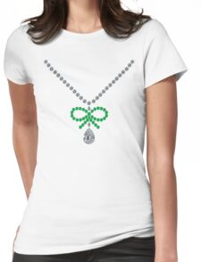 Bow Emerald Necklace Womens Fitted T-Shirt