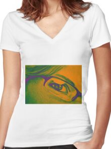 Drawing of girl with glasses, detail. Women's Fitted V-Neck T-Shirt