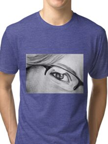 Drawing of girl with glasses, detail. Tri-blend T-Shirt