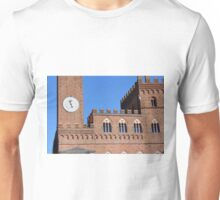 8 August 2016 Photography of red brick buildings from Piazza del Campo in Siena, Italy Unisex T-Shirt