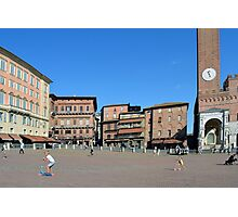8 August 2016 Photography of red brick buildings from Piazza del Campo in Siena, Italy Photographic Print