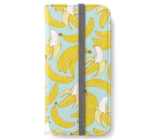 Banana pattern on turquoise background iPhone Wallet/Case/Skin