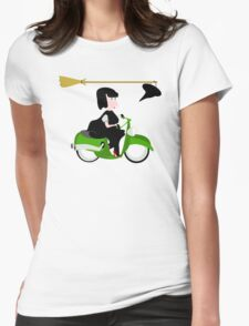Witch Riding a Green Motor Scooter T-Shirt