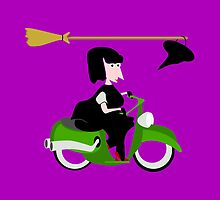 Witch Riding a Green Motor Scooter by piedaydesigns