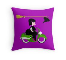 Witch Riding a Green Motor Scooter Throw Pillow