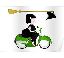 Witch Riding a Green Motor Scooter Poster