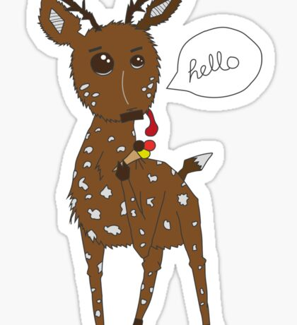 Diego the Deer Eats Ice-Cream Sticker