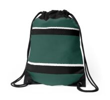 Hunter Green Black and White Banded Drawstring Bag