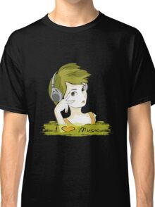I Love music, teenager listening music Classic T-Shirt
