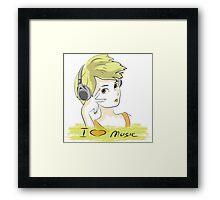 I Love music, teenager listening music Framed Print