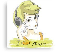 I Love music, teenager listening music Canvas Print
