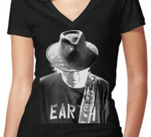 MRNTOY4 NEIL YOUNG & promise of the real Rebel Content TOUR 2016 Women's Fitted V-Neck T-Shirt