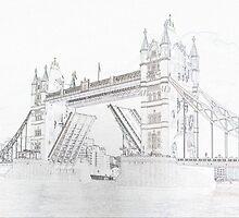 Tower Bridge - Black and White line drawn style by InterestingImag