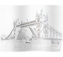 Tower Bridge - Black and White line drawn style Poster