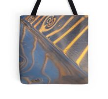 abstract metallic blue, yellow and silver reflection Tote Bag