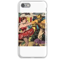 Demon attacking a young woman 50s comic vintage pop art iPhone Case/Skin