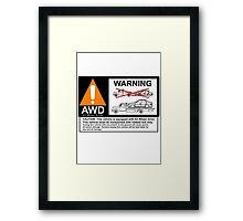 AWD Warning Towing Subaru Framed Print
