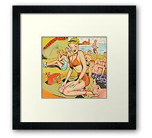 Dotty on the beach in her swimsuit vintage comic art Framed Print