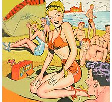 Dotty on the beach in her swimsuit vintage comic art Photographic Print