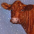 Red Beef Cow, Hereford in Snow, Winter, Farm Animal, Art by Joyce Geleynse