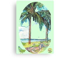 Symbols of Summer Beach Cocktails and Deck Chairs  Canvas Print