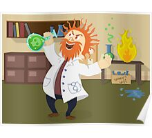 Mad, Scientist, Physicist, Chemist, Cartoon, Fun, Funny Poster