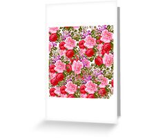 Bright pink red vintage roses bohemian floral Greeting Card