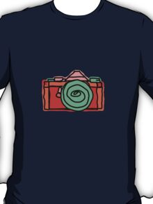 Bold and Colorful SLR Line Drawing T-Shirt