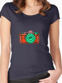 Bold and Colorful SLR Line Drawing Women's Fitted Scoop T-Shirt