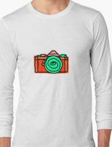 Bold and Colorful SLR Line Drawing Long Sleeve T-Shirt