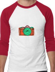 Bold and Colorful SLR Line Drawing Men's Baseball ¾ T-Shirt