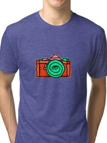 Bold and Colorful SLR Line Drawing Tri-blend T-Shirt