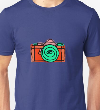 Bold and Colorful SLR Line Drawing Unisex T-Shirt