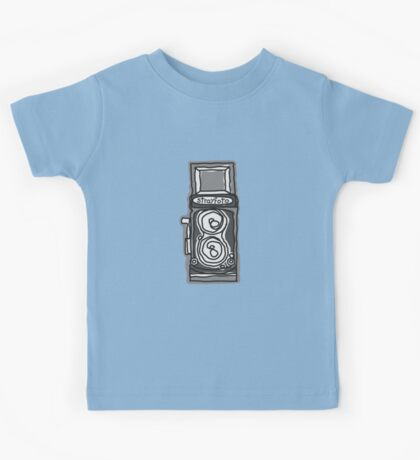Bold, Black and White Camera Line Drawing Kids Tee