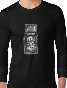 Bold, Black and White Camera Line Drawing Long Sleeve T-Shirt