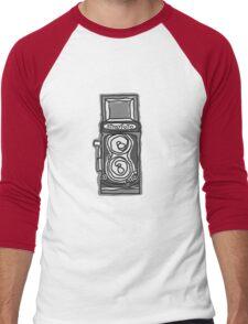 Bold, Black and White Camera Line Drawing Men's Baseball ¾ T-Shirt